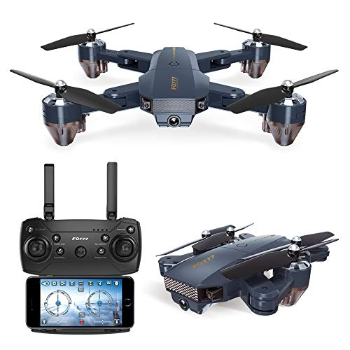 Quadcopter Drone with Camera Live Video, WiFi FPV Quadcopter with 720P HD Camera Foldable Drone RTF – Altitude Hold, One Key Take Off/Landing, 3D Flip, APP Control, Easy to Fly for Beginner