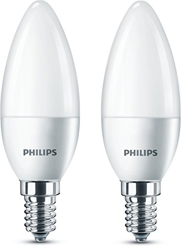 Philips LED Lampe ersetzt 40 W, E14, warmweiß (2700K), 470 Lumen, Kerze, Doppelpack