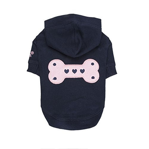 Puppia Authentic Bonez Hoodie, Small, Navy by Puppia