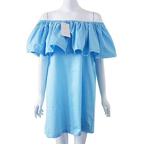 LOBZON - Vestido - Noche - Sin mangas - para mujer Azul