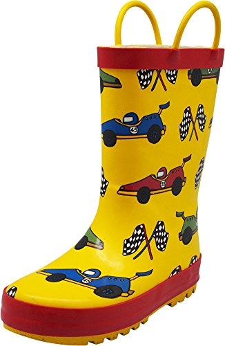 Cars Print - NORTY - Toddler Boys Race Car Print Waterproof Rainboot, Yellow, Red 40135-9MUSToddler