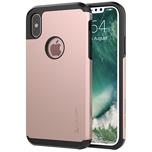 Luvvitt Ultra Armor Case with Dual Layer Heavy Duty Protection and Air Bounce Technology for iPhone X 10 (2017) - Rose Gold