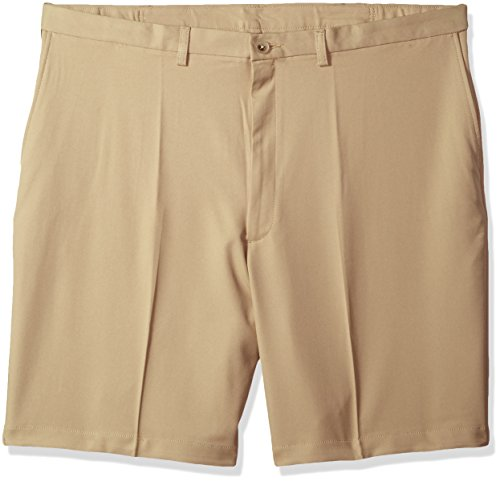 Haggar Men's Big and Tall Cool 18 Pro Classic Fit Stretch Flat Front Short, Khaki, 44