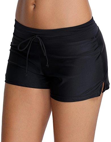 OLIPHEE Costume da bagno da donna Classic Shorty Multiusage Pantaloncini classici Nero