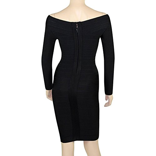 Shoulder Rayon Sleeve The Long Women Bandage Hlbandage Dress Negro Off YnwSpXx