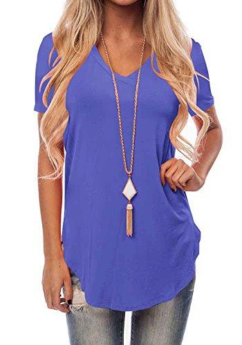 Bodycon4u Base Col V Femmes Manches Courtes T-shirt Été Décontracté Tee Lâche Blouse Tête S-xxl Bleu