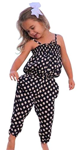 SHOBDW Girls Rompers, Toddler Infant Baby Girls Print Sleeveless Clothes Romper Jumpsuit Playsuit
