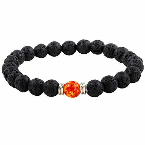 TUMBEELLUWA Beads Bracelets for Men and Women, Semi Precious Stone Yoga Beads Chakra Bracelet,Fire Agate Lava Stone