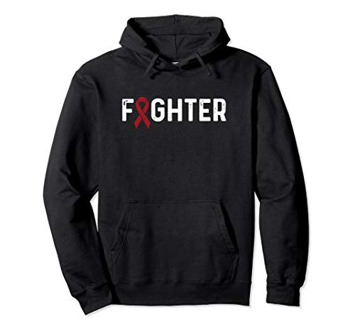 Multiple Myeloma Awareness Products Burgundy Ribbon Fighter Pullover Hoodie