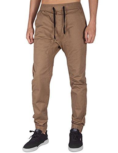 Italy Morn Mens Chino Jogger Casual Pants Khakis Jogging Slim Fit Elastic Waistband (L, Timber Khaki)