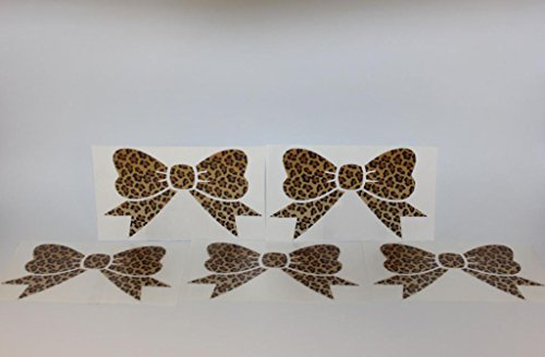 x5 Leopard Print Bow Decal bumper sticker 5