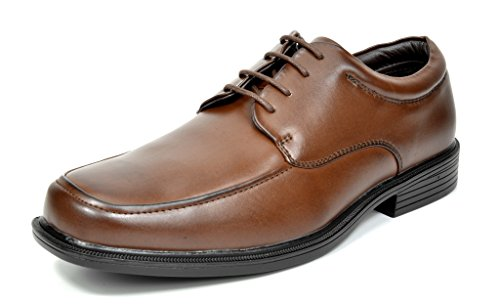 Moc Loafers Shoes (Bruno Marc CAMBRIDGE-01 Men's Formal Loafers Lace Up Slip On Square Moc Toe Leather Lining Dress Classic Oxford Shoes DARK BROWN SZ)
