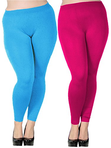 Zando Women's Plus Size Modal Seamless Full Length Stretchy Basic Ankle Leggings H 2 Pairs Light Blue w Rose Red US 2X Plus