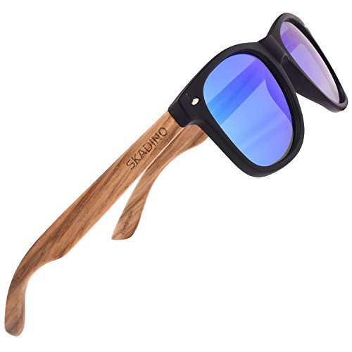 SKADINO Zebra Wood Sunglasses for Women&Men with Polarized Lens Handmade Wooden Arms-Black Frame Blue - Wayfarer Arms
