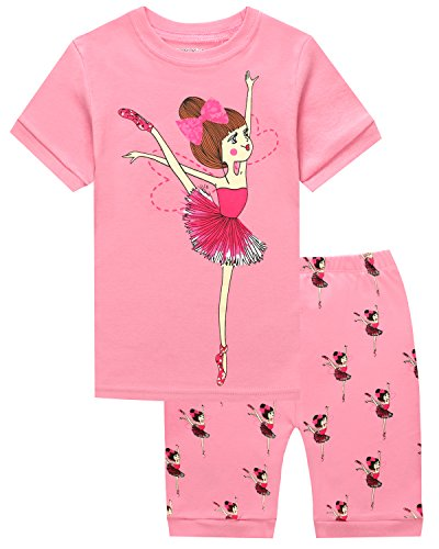 (HYY Kids Girl Pajama Short Sets 100% Cotton Summer Ballerina Girl Sleepwear Princess size2T-12years(Dance 6T))
