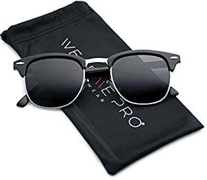 Retro Classic Metal Half Frame Horn Rimmed Sunglasses