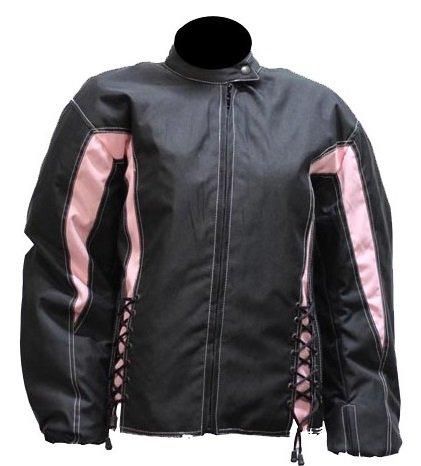 Womens Black and Pink Textile Motorcycle Jacket (Size XL, X-Large) (Textile Biker Womens Jacket)