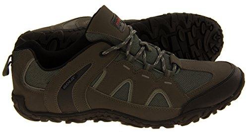 Gola para hombre de la materia textil de imitación zapatos de trekking para caminar de cuero Gris/negro