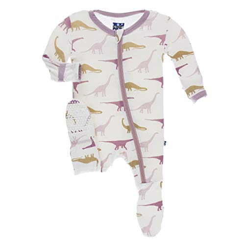 Kickee Pants Little Girls Print Footie with Zipper - Natural Sauropods, 8 Years -