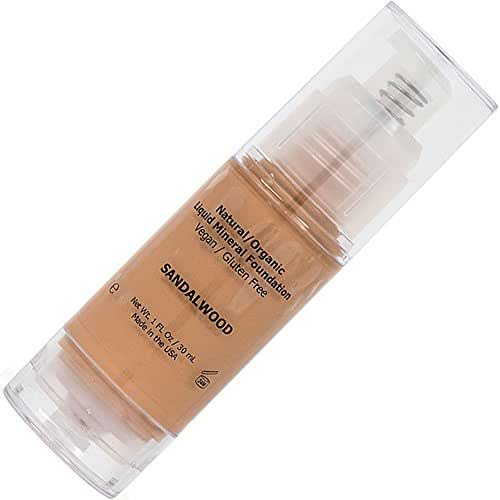 Medium Tan Liquid Mineral Foundation Natural, Organic, Vegan, No Animal Cruelty, Gluten Free, Non GMO, No Palm, No Parabens, Natural Sunscreen SPF, Non Comedogenic, Hypoallergenic - Sandalwood