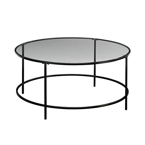 Sauder Harvey Park Coffee Table, Black/Clear Glass