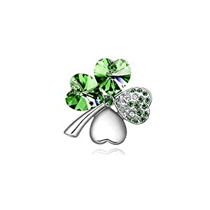 Four Leaf Clover Necklace – Green St.Patrick's Day Shamrock Jewelry – Good Luck – Green Clover Necklace, Earrings…