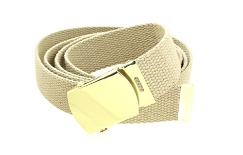 Buckle Khaki (Canvas Web Belt Military Style with Brass Buckle and Tip 54
