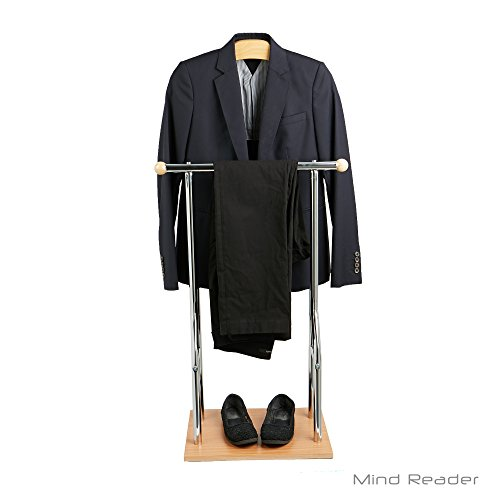Mind Reader Steel, Bamboo, Wood Valet Suit Rack Stand, Brown ()