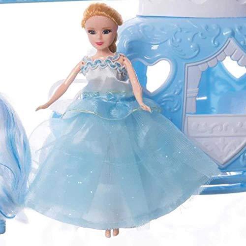 BAKAJI Bambola Principessa dei Ghiacci con Carrozza Cavallo e Accessori Gioco Vestito in Tessuto Giocattolo per Bambini Dimensioni Prodotto: 53 x 20 x 11 cm