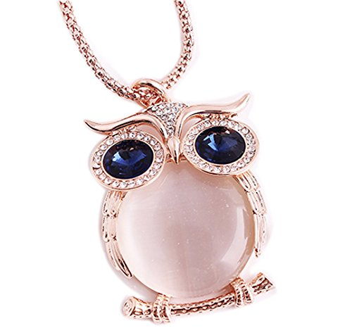 Price comparison product image CNCbetter Fashion Joker Rose Gold Cat Eye Stone Owl Pendant Chain Gold Plated Long Sweater Necklace