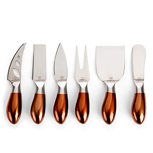 Elegant Cheese Knives, Set of 6, Stainless Steel with Rose Gold Handles – 6-Piece Cheese Spreading Knife Sets for Charcuterie Boards, Platters, Appetizers – Beautiful Cutlery Gift Set