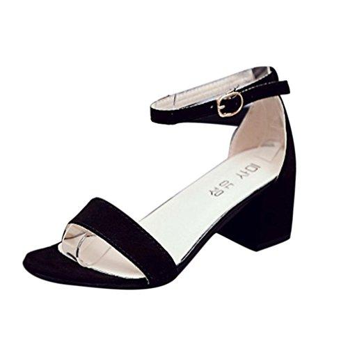 Sannysis Frauen Single Band Chunky Heel Sandale mit Knöchelriemen Sommer Sandalen Schuhe Damen Sandalen Flach Schuhe mit Strass Flip Flops Römer Damen Sommer (39, Schwarz) Schwarz