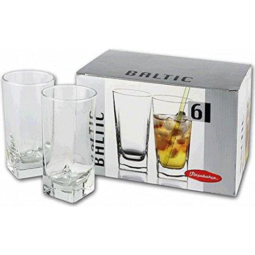 Pasabahce Carre Long Drink Water Juice Glass Tumbler, 290 Ml, Set of 6