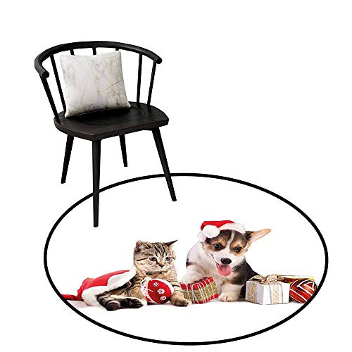 (Home Decor Area Rug Christmas Dog and Cat in Santa Hats with Surprise Boxes and Balls New Year Celebration Circle Rugs for Living Room D39.3 Red White Brown)