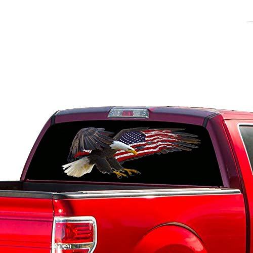 Gold Fish Decals Rear Window Perforated See Thru Graphic Eagle 3 Decal Sticker Compatible with Ford F150 ()