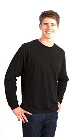bab9264e Spun Bamboo Men's Bamboo/Organic Cotton Long Sleeve T-Shirt-Medium-Black