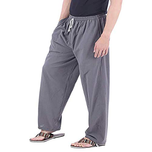 Men's Pants Casual Cotton Linen Long Trouser Elastic Waist Baggy Lightweight Pants with Pocket Gray