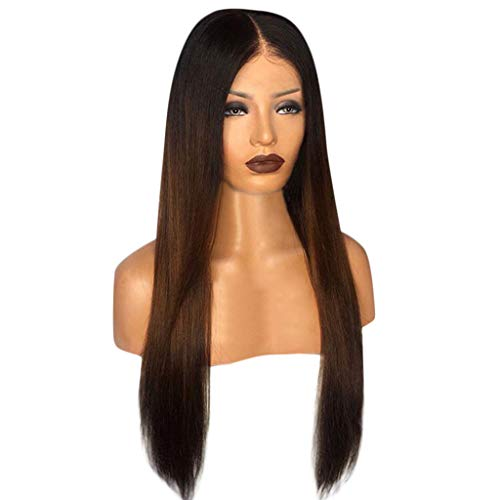 Ombre Wig Straight Long Hair for Black Women Middle Parting Human Hair Full Wigs Heat Resistant Synthetic Fiber Daily Party Wig (Brown) (Refill Blades Twist Trimmer)