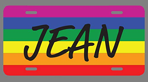 JMM Industries Jean Name Pride Flag Style License Plate Tag Vanity Novelty Metal 6-Inches by 12-Inches Premium Quality UV Printed NP2035