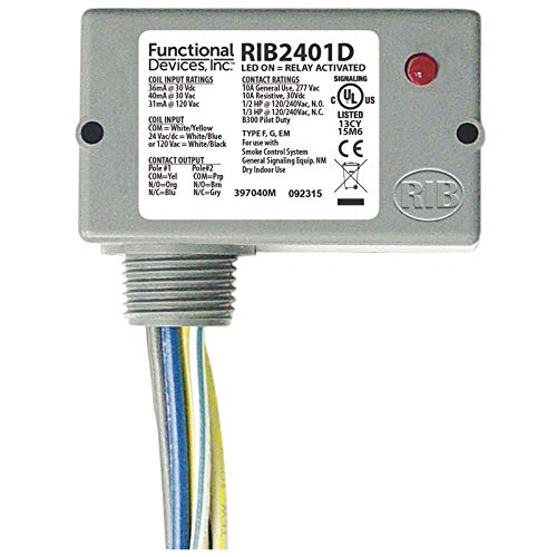 (Functional Devices RIB2401D Enclosed Pilot Relay, 10 Amp Dpdt with 24 Vac/Dc/120 Vac Coil)
