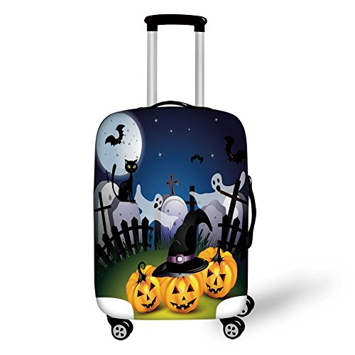 Travel Luggage Cover Suitcase Protector,Halloween,Funny Cartoon Design with Pumpkins Witches Hat Ghosts Graveyard Full Moon Cat Decorative,Multicolor,for -