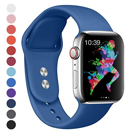 EXCHAR Compatible for Apple Watch Band 44mm, 42mm, for Apple Watch Series 4, 3, 2, 1, iWatch, Sport T, Edition with Soft Safety Silicone and Lightweight Design- M/L Blue