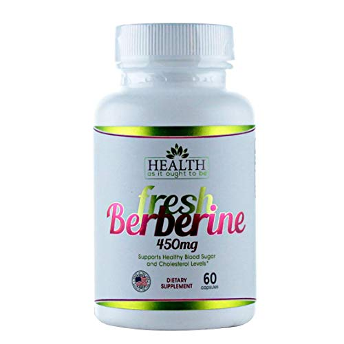 Fresh Berberine 450mg - 60 Capsules. Contains Only Berberine and Rice Flour - No Preservatives. Made in Small Batches so Freshness is Guaranteed. Used by Integrative Medicine Physicians. 450 Mg 60 Capsules