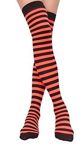 Jasmino Women Striped Thigh High Socks, Colorful Over Knee Hosiery Stockings (Orange Black) from JASMINO