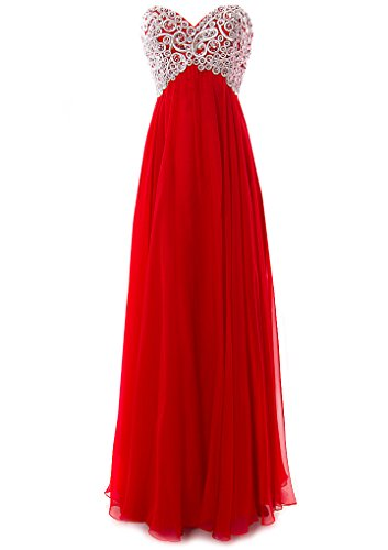 Fiesta Formals Long Chiffon Metallic Silver Embroidery Dress - Red - - Priority Mail Time Ship Usps