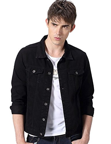 Idopy Men`s Casual Cowboy Rugged Jean Denim Biker Trucker Jacket (US S, Black 851)