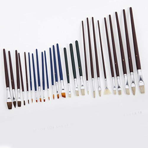 Hotaluyt 25pcs Nylon Hair Paint Brush Set Wooden Handle Gouache Watercolor Oil Painting Acrylics Brushes ()