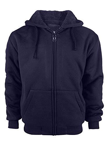 GEEK LIGHTING Mens Full Zip Outdoor Warm Thick Fleece Hoodie Jacket Navy X-Large (Fleece Pullover Heavyweight)