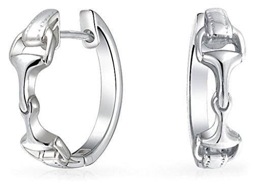 Equestrian Equine Gift Horsebit Cowgirl Hinge Hoop Earrings For Women Teen Polished Finish 925 Sterling Silver .75In