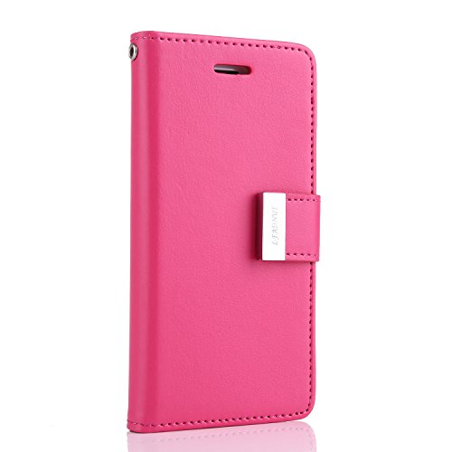 For Samsung Galaxy S6 Edge Case,L-FADNUT Luxury Flip PU Leather Case,[Dual Card Slots][Metal Megnetic Closure] Stand Wallet Card Holder Case Cover For Samsung Galaxy S6 Edge - Hot Pink